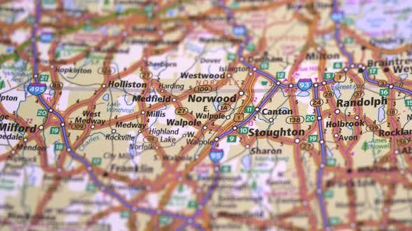 Thumbnail for Map Of Highways With Cities Of America Boston.