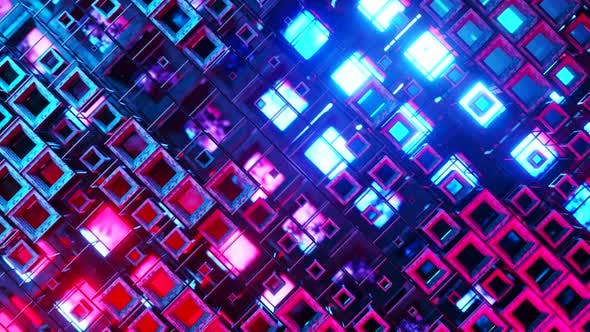 3D Animation of Colorful Glass Rows of Cubes