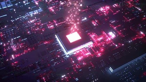 Glowing Chip Transmitting Data