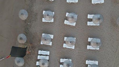 Empty Beach Umbrellas Aerial Drone
