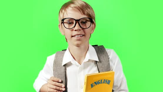 Thumbnail for Boy Holding English Book Cromakey