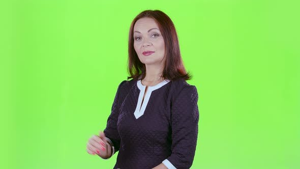 Thumbnail for Woman Advertises Clothes. Green Screen