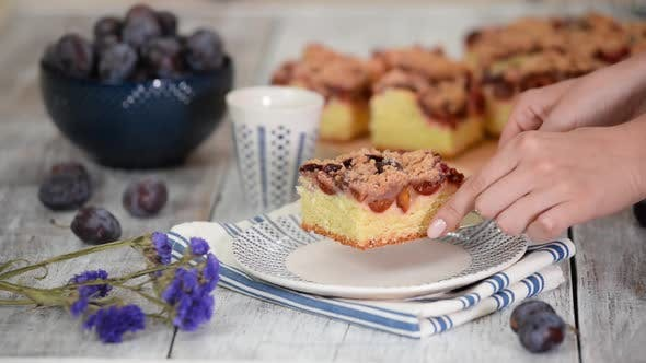 Thumbnail for Piece Of Plum Pie With Crumble.
