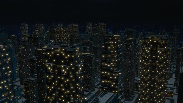 Night metropolis with tall buildings 3D