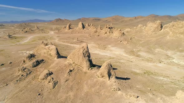 Thumbnail for Aerial  View of the Tufa Formations on the Edge of Searles Dry Lake in the Mojave Desert