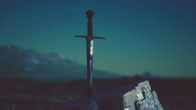Famous Sword Excalibur of King Arthur in the Rock