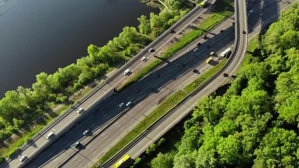 Aerial View of Embankment Highway