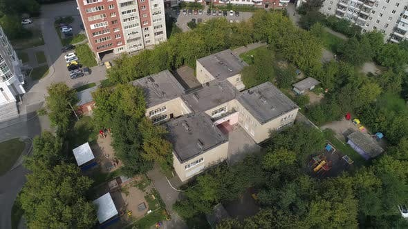Aerial view of empty preschool building in city 10