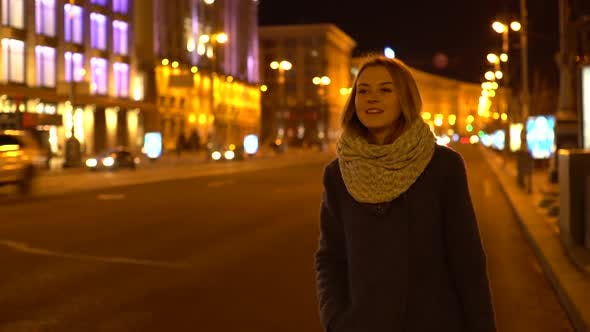 Thumbnail for Beautiful Girls at Night Waits and Stops Taxi