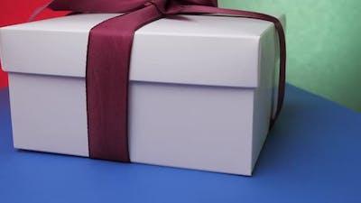 Decorative Anniversary Present Box with Purple Ribbon