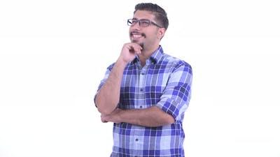 Happy Bearded Persian Hipster Man Thinking