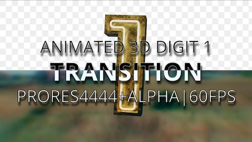 Animated digit 1 transition UHD 60fps