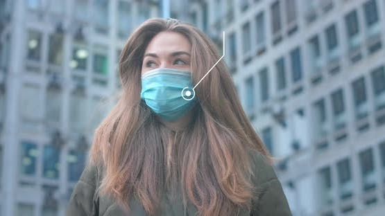 Portrait of Beautiful Caucasian Woman with 2d Animation Covid-19. Young Girl Wearing Protective Mask