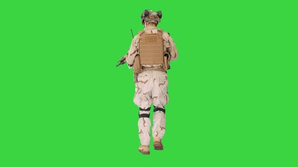 Thumbnail for US Army Ranger in Combat Uniform Walking on a Green Screen, Chroma Key.