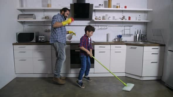 Thumbnail for Dancing Happy Family Cleaning Up House Together