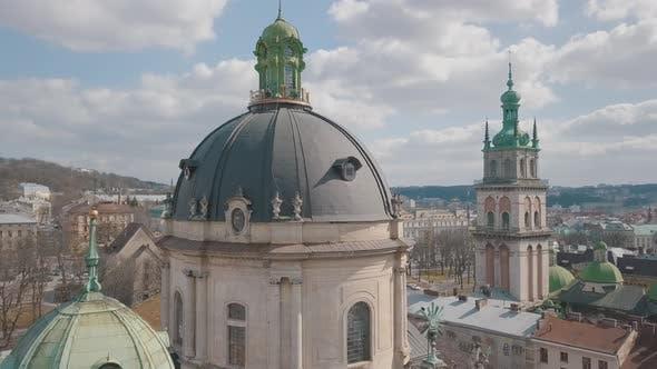 Thumbnail for Luftstadt Lviv, Ukraine. Europäische Stadt. Beliebte Gegenden der Stadt. Dominikanische