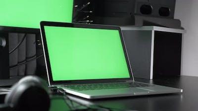 Laptop with green screen chroma key