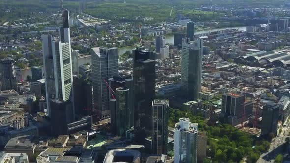 Thumbnail for AERIAL Above Frankfurt Am Main with Drone Looking Down on Skyscrapers in Beautiful Summer Sunshine