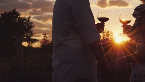 Cover Image for Romantic Couple Holding Hands Clink Glasses with Wine at Sunset