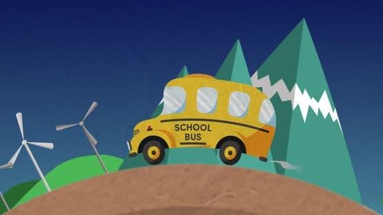 School bus driving in cityscape