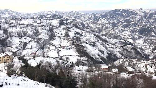 Snowy Hills Landscapeof Winter in Trabzon Turkey