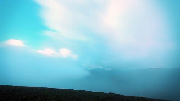 Storm clouds. mountain landscape timelapse