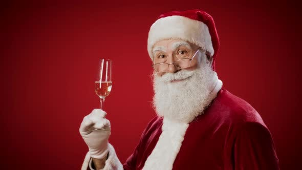 Thumbnail for Santa Claus with Champagne Glass