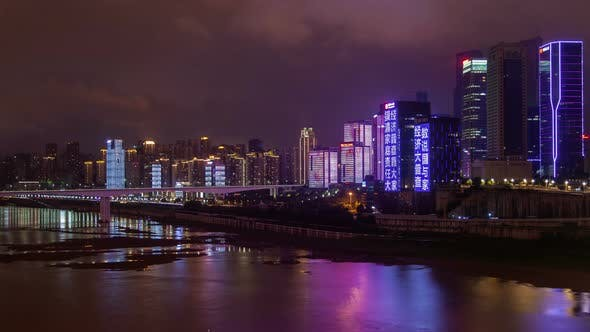 Thumbnail for Chungking Reflected in Calm Jialing River in China Timelapse