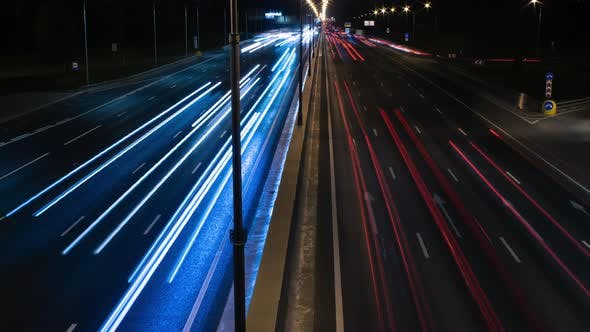 Fast Cars On Night City Highway 2