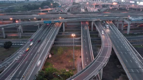 Thumbnail for Time-lapse of car traffic transport on multiple lanes highway or expressway in Asia city