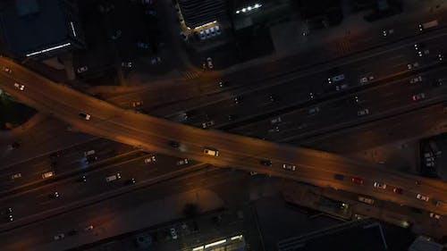 Aerial Nigth Traffic Overpass