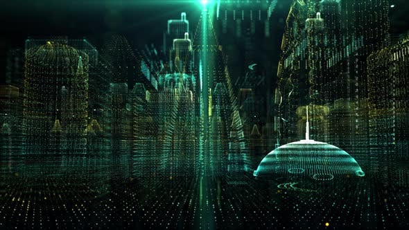 Thumbnail for Futuristic Holographic Digital Matrix Cyber City 02