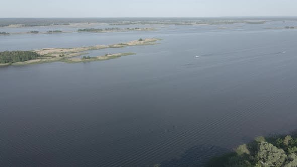 Thumbnail for Dnipro River. Aerial View. Landmark of Ukraine, Flat, Gray