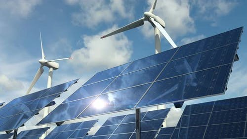 Types of Ecological Clean Power with Solar Panels Cells and Wind Turbines Loop 4k