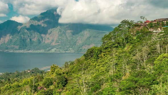 Cover Image for The Batur Lake and Volcano Are in the Central Mountains in Bali Near the Kintamani Village