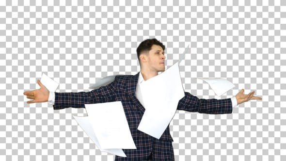 Thumbnail for Businessman Throws up Documents and Dances Happy, Alpha Channel