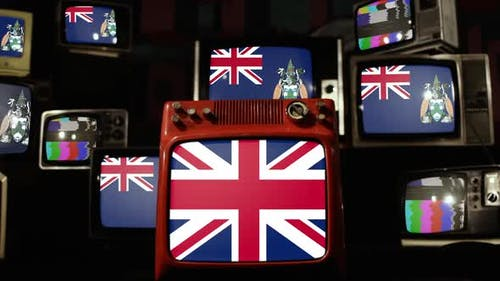 Flags of Ascension Island and UK Flag on Retro TVs.