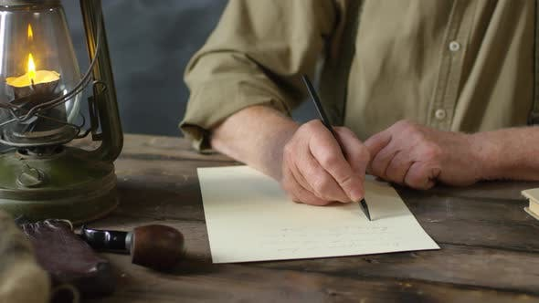 Cover Image for Romantic Old-Fashioned Elderly Man Writing Poem