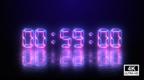 Digital Neon Negative Countdown 1 Minute