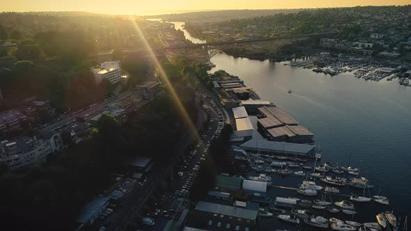 Thumbnail for City Waterfront Canal Bridges Helicopter Angle At Sunset