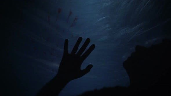 Dying Silhouette of Victim, Creepy Scene of Murder, Horror, Slow-Motion