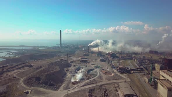Aerial View. Industry Plant. Smoke Pipes