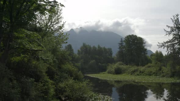 Thumbnail for Amazing Drone Aerial Flying Towards Mount Si Washington Above Snoqualmie River Landscape