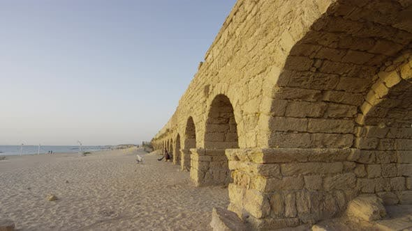 The Roman aqueduct and the beach