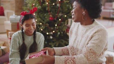 Joyous Black Woman Receiving Xmas Gift from Family