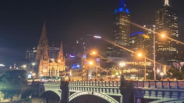 Princes Bridge in Melbourne timelapse