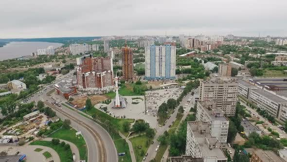 Thumbnail for Aerial View of Samara City Over Monument Launch Vehicle Soyuz and Museum Samara Space in Summer Day