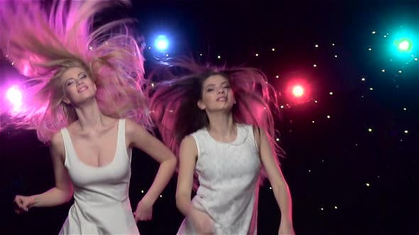 Thumbnail for Woman Dancing in Front of Disco Style Lights. Slow Motion