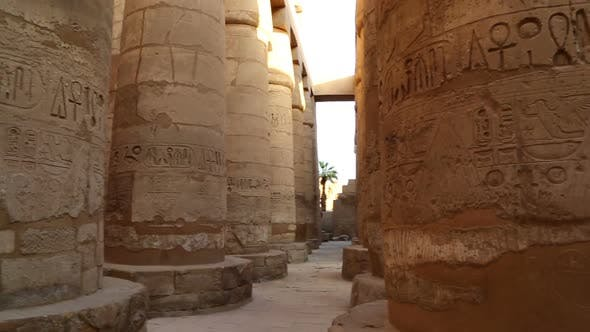 Thumbnail for Columns in Karnak Temple with Ancient Egypt Hieroglyphics