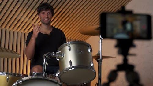 Man Drummer Creating Online Courses